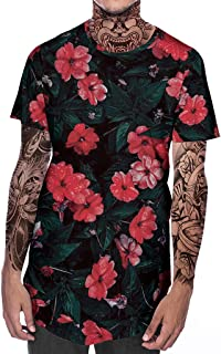 Men's New Summer Top with Round Neck Short Sleeve Flower 3D Printed T-Shirt