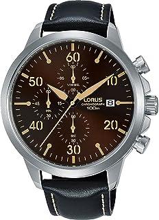 RM351EX9 لوراس سبورتس ، كوارتز ، 100 متر مقاومة للماء ، كرونوغراف ، وجه بني ، حزام جلد أسود