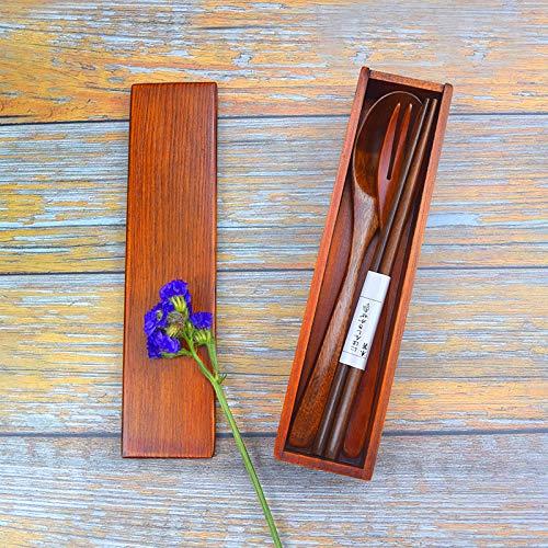 箸箱セットスプーンフォーク箸3点セット天然木製収納便利携帯用カトラリーアウトドアキャンプ旅行用品学校和風(ブラウン)