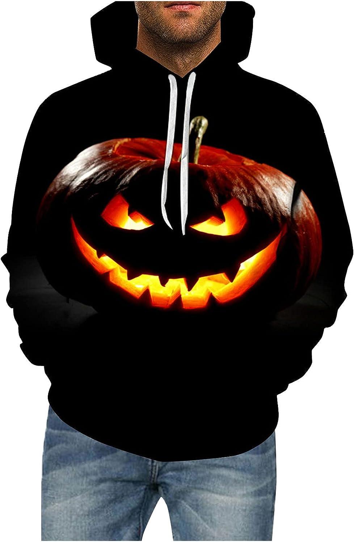 FORUU Men Women Halloween Hoodies 2021,Pumpkin 3D Print Sweatshirt Long Sleeve Couples Hoodies Fashion Pullover