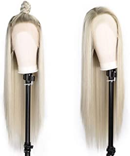 ENTRANCED STYLES Synthetic Ombre Blonde Lace Front Wigs for Women Long Straight Wigs Side Part 2 Tones Color Heat Resistant Wig for Daily&Party Use Natural Looking 30