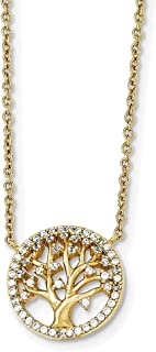 """Lex & Lu Sterling Silver Polished Gold-Plated Tree w/CZ Necklace 16"""" LAL17909"""