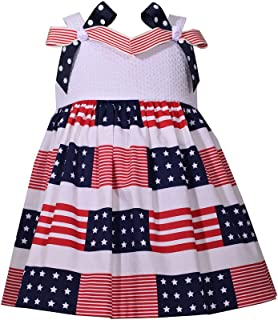 Little Girls 2T-6X Patriotic Red White and Blue Bow Dress - Kids July 4th Dress