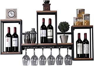 Wall Wine Shelf Metal Iron for Bar Living Room | Wall Hanging Cube Shelf Bookshelf Storage Rack | Floating Unit Wall Decor...
