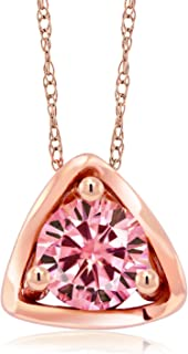 Gem Stone King 10K Rose Gold Pendant Pink Round Created Moissanite 0.50ct DEW