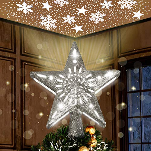 Joiedomi Silver Star Tree Topper for Christmas Tree Decorations, Home, Party, Wedding, Bedroom Decor Indoor Decor