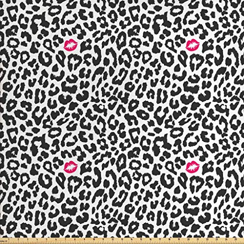 Ambesonne Safari Fabric by The Yard, Leopard Cheetah Animal Print with Kiss Shape Lipstick Mark Dotted Trend Art, Decorative Fabric for Upholstery and Home Accents, 2 Yards, Pink Grey