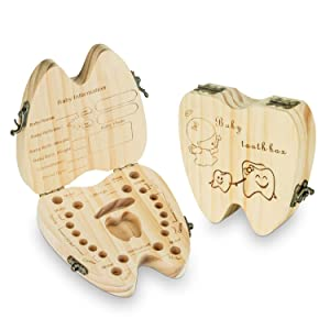 Baby Teeth Keepsake Box Tooth Fairy Holder Wooden First Lost Deciduous Tooth Collection Organizer Storage for Kids Memory (Girl)