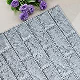 UNICOO - 3D Wall Panels Peel and Stick Self-Adhesive Real Bricks Effect Wall Tiles for Kids Room Bathroom Living Room TV Walls Sofa Background Wall Decoration. 116sq ft 20 Packs (Silver)