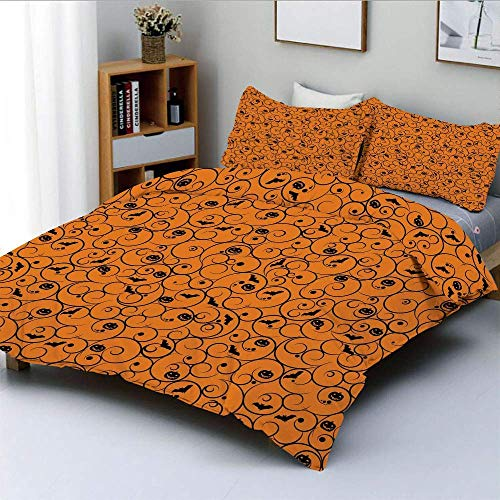 Duvet Cover Set,Floral Swirls with Dots Little Bats Open Wings and Pumpkins Seasonal PatternDecorative 3 Piece Bedding Set with 2 Pillow Sham,Orange Black,Best Gift for Kids & Easy Care Anti