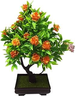 litymitzromq Artificial Flowers Outdoor Plants, 1Pc Potted Artificial Flower Bonsai for Home Desk Patio Yard Garden Stage Office Wedding Restaurant Party Cafe Shop Decoration Gift Orange