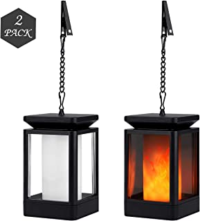 Solar Lanterns Outdoor Hanging Led Solar Lights Dancing Flame, Waterproof and Auto On/Off, Hanging and Table Lamp, Warm Flickering Flame Candles Lantern Decorative for Garden Patio Landscape 2 Pack