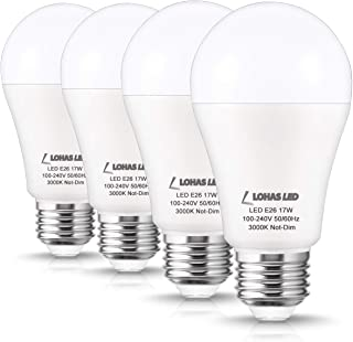 LOHAS 150W Equivalent LED Bulb(with UL Listed), Soft White 3000K A19 Incandescent Bulbs Replacement, 17W E26 Base LED, 1600 Lumen Home Lighting Warehouse Office Porch Light, Non-Dimmable(4 Pack)
