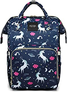 House of Quirk Baby Diaper Bag Maternity Backpack (Dark Blue Unicorn)