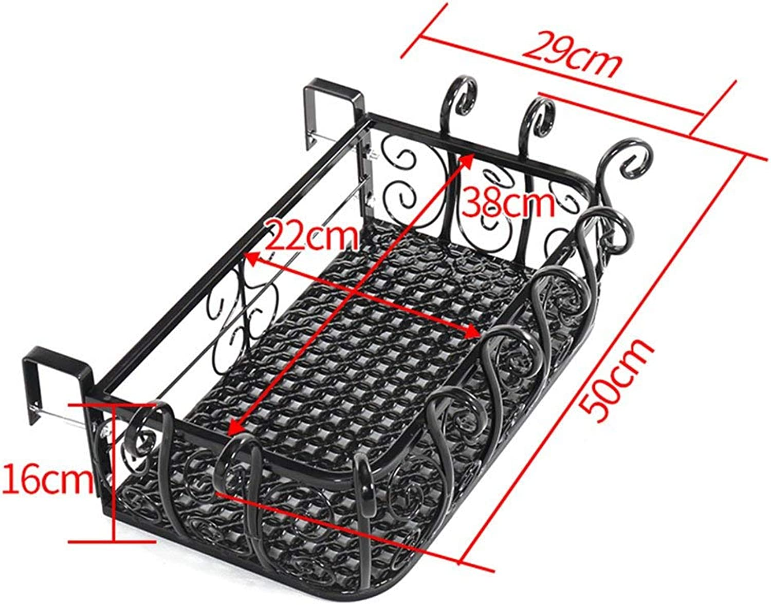 Gifts & Decor Plant Stand Shelf Flower Stand Iron Railing Balcony Suspension Wall Hanging Flower Pots (Size   50cm)