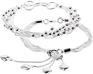 Lote de 2 pulseras de plata con flecos de 20 cm, ideales como regalo de cumpleaños, Navidad, San Valentín