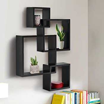 Furniture Cafe Wooden Intersecting Wall Shelves/Shelf for Living Room | Set of 4 | Black