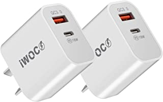 USB C Charger iwoco 2Pack 18W 2-Port PD Fast Charger with Quick Charger 3.0 Port Power Delivery for iPhone 12/12 Mini/12 P...