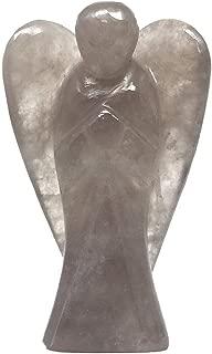 Nelson Creations, LLC Smoky Quartz Hand-Carved Natural Gemstone Crystal Healing Angel Figurine Statue, 2 Inch