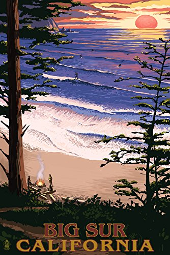 Big Sur, California, Surfing and Sunset (12x18 Art Print, Wall Decor Travel Poster)