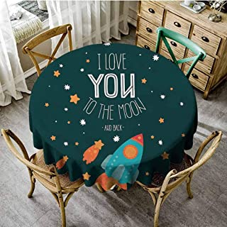 ScottDecor I Love You Printed Tablecloth Rocket on The Road of Space Adventure Cosmic Valentines Couples Universe Theme Dinning Round Tablecloth Multicolor Diameter 36