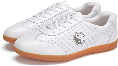 ICNBUYS Women's Breathable Leather Kung Fu Tai Chi Shoes for Summer White