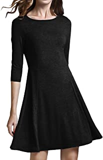 Women's 3/4 Sleeve Knit Fit-and-Flare Dress