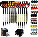 Sinwind Plastic Tip Dart, 12 Darts with 42 Fin and 100 Tips, Soft Tip Dart Set for Electronic Dart Target