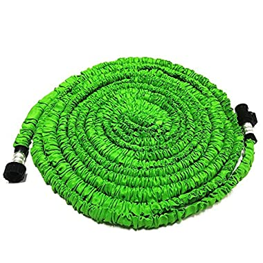 GenLed Expandable Garden Hose, 75.5FT Strongest Expanding Garden Hose on the Market with Triple Layer Latex Core & Latest Improved Extra Strength Fabric Protection for All Your Watering Needs(Green)