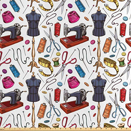 Lunarable Fashion Fabric by The Yard, Pattern with Cartoon Tailoring Equipment as Sewing Machine Thread and Tape Measure, Decorative Satin Fabric for Home Textiles and Crafts, 1 Yard, Multicolor