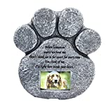 Mochiglory Paw Print Pet Memorial Stone Puppy Tombstone Dog or Cat Grave with Photo Frame