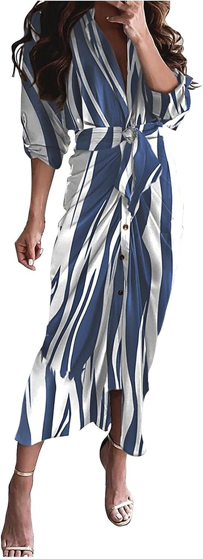 Rpvati Women's Fashion Loose V-Neck Button Print Lace-up Waist-Length Sleeve Dress