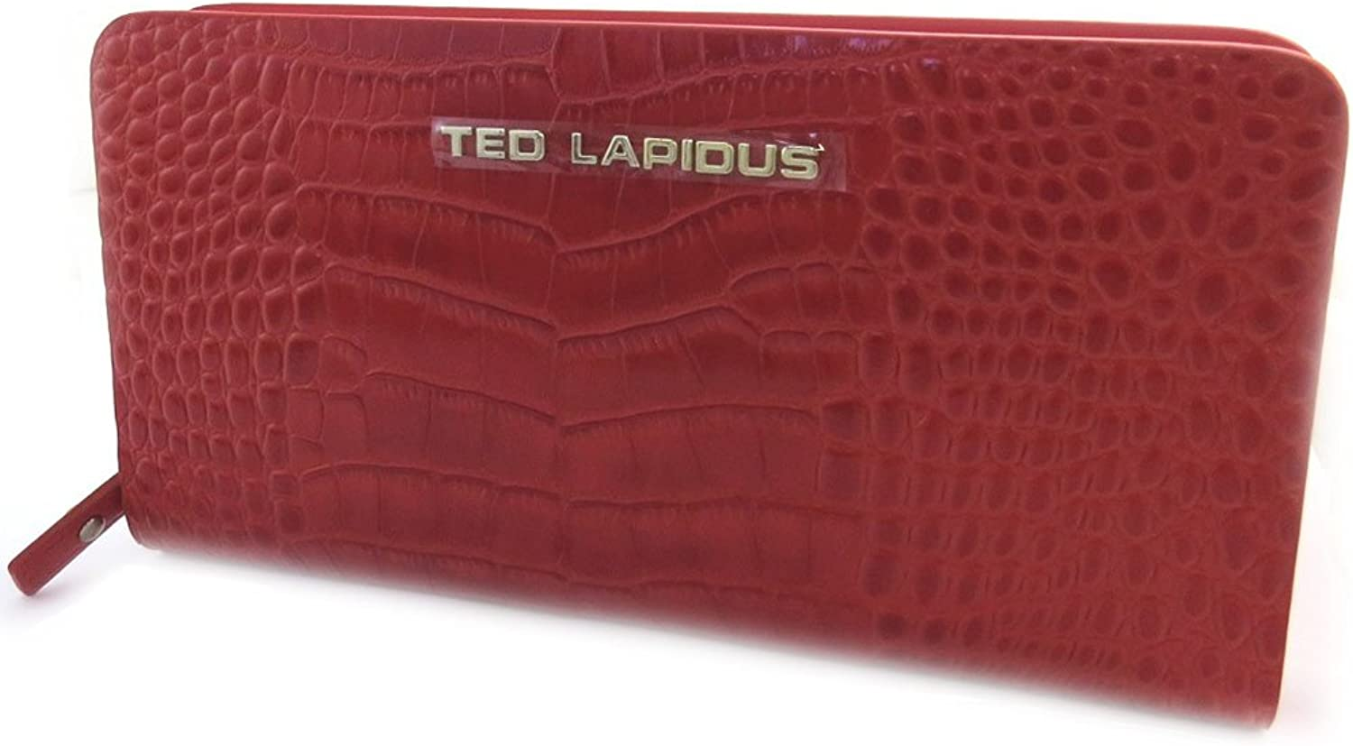 Wallet + checkbook holder zipped leather 'Ted Lapidus'red.