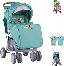 Cochecito Lorelli, Buggy Foxy, cubrepiés, respaldo ajustable, parasol, color:verde