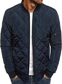 Mens Jackets Bomber Varsity Diamond Quilted Fall Winter Coats Outwear