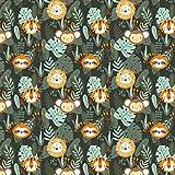 Pingianer 11,99€/m Faultier AFFE Löwe Dschungel 100%