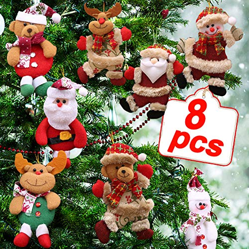 Plush Christmas Ornaments Set, 8 Pieces Christmas Tree Plush Hanging Ornaments Decorations Santa/Snowman/Elk/Bear Ornaments for Christmas Tree Pendant Holiday Party Decor