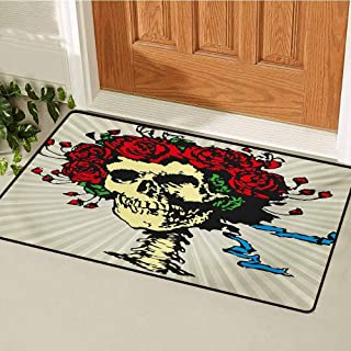 GUUVOR Rose Commercial Grade Entrance mat Tattoo Art Style Graphic Skull in Red Flowers Crown Halloween Composition Print for entrances garages patios W23.6 x L35.4 Inch Beige Multicolor