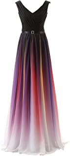 Sarahbridal Women's Long Prom Dresses Formal Chiffon Evening Ball Gowns Gradient Color
