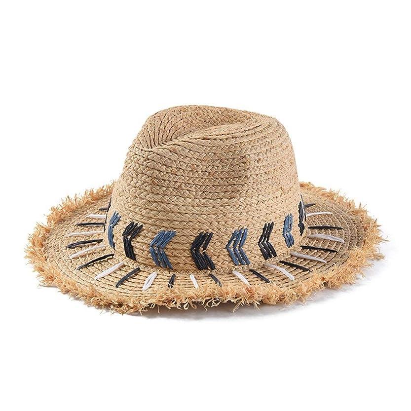 免除する大事にするうれしいYUXINXIN 帽子Lafite麦わら帽子エスニック風カップル男性と女性のジャズハット手作り刺繍バイザー (Color : Wheat-colored)