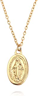 Virgin Mary Necklace 18K Gold Plated Women/Men Christian Jewelry Cross Virgin Mary Pendant for Yourself Friends and Lover(...