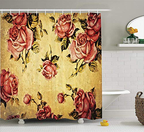 werert Roses Decorations Shower Curtain, Old-Fashioned Victorian Style Rose Pattern with Dramatic Color Boho Art Design, Fabric Bathroom Set with Hooks, Mustard and Ligth Pink 72 X 72