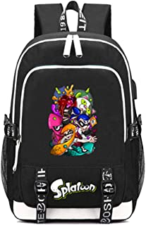 Splatoon Game Multifunction Schoolbag Travel Bag Laptop Backpack with USB Charging Port and Headphone Jack