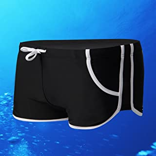 Hot & Sexy Men's Swim Trunks Sexy Low Rise Boxers Swimwear Underwear-SM01 (XXL Size Waste 91-104 cm, Black)