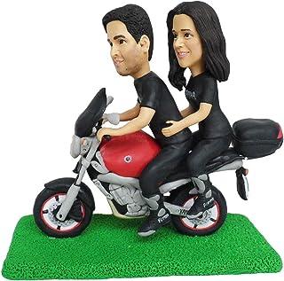 Motocicleta boda silueta moto pareja novia novio pastel toppers bobblehead