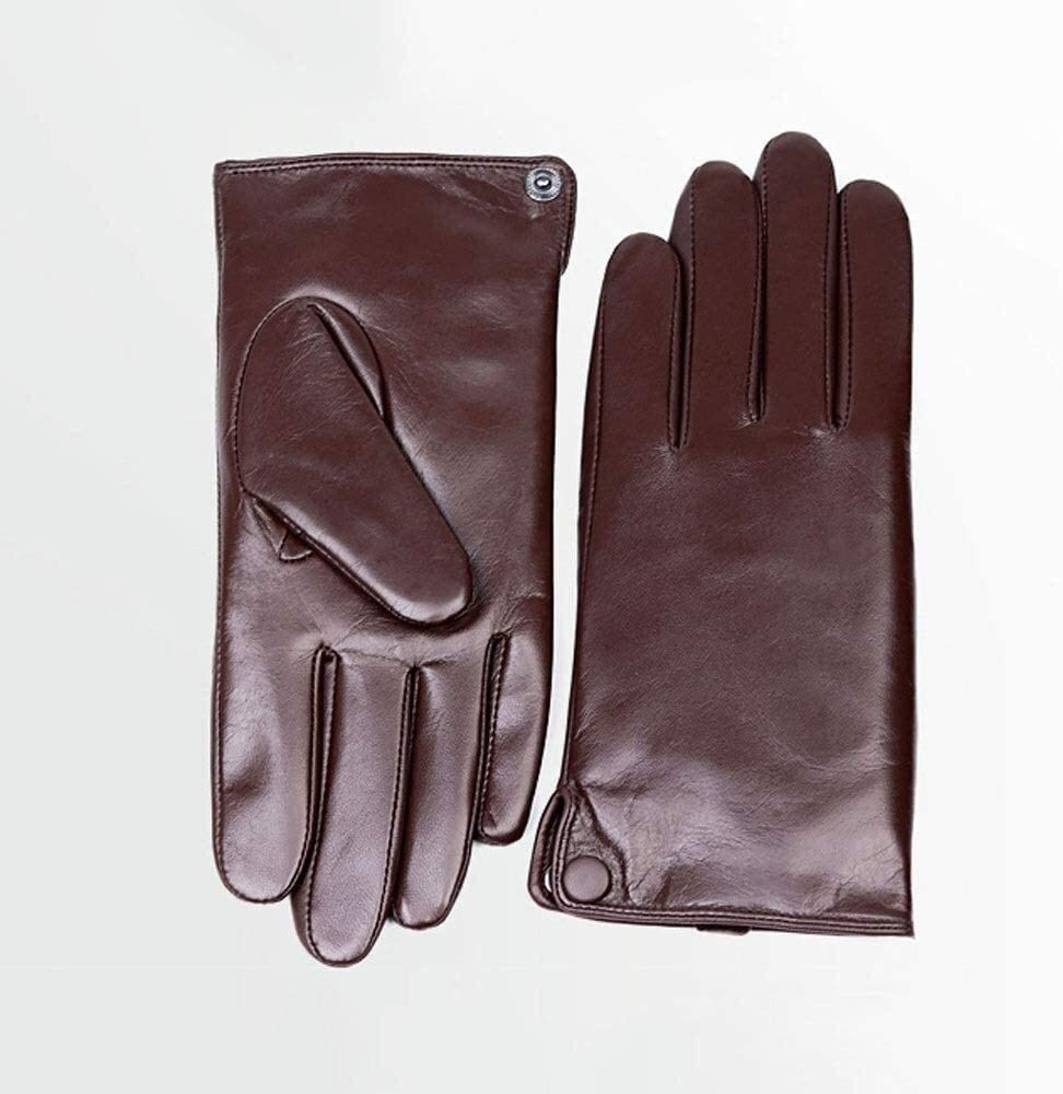 ACCDUER Men's Gloves Goatskin Gloves Men's Thin Unlined 100% Full Leather Touch Screen Gloves Spring and Autumn Driving Driver's Gloves Single Leather Straight Paragraph Mitten Driving Gloves
