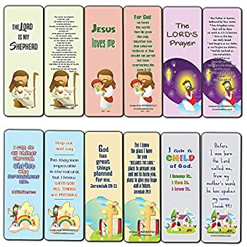 Christian Bookmarks Cards for Kids  12-Pack  - Scripture Bible Verses - Psalm 23 - Great Stocking Stuffers for Easter Baptism Thanksgiving Christmas Sunday School - Prayer Cards - War Room Decor