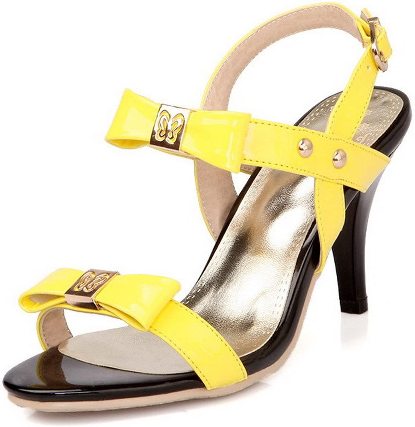 WeiPoot Women Open Toe High Heel PU Soft Material Assorted colors Sandals with Bows, Yellow, 7.5 B(M) US