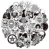 50 piezas Pegatinas de Vinilo Negro Blanco, Ouceanwin Grafiti Pegatina Calavera Decorativas VSCO Pegatinas Impermeables para Coche, Motocicleta, Bicicleta, Monopatín, Snowboard, Equipaje