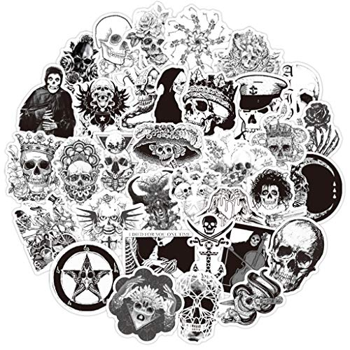 Ouceanwin 50 Stück Vinyls Stickers Schwarz Weiß Stickerbomb Skull Graffiti Decals Set, Deko Sticker Wasserdicht VSCO Aufkleber für Auto Motorrad Fahrrad Skateboard Snowboard Gepäck Laptop MacBook